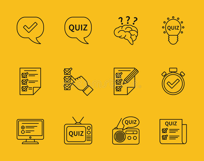 Vector Drawing Lines Quiz : Set of vector line quiz icons stock illustration