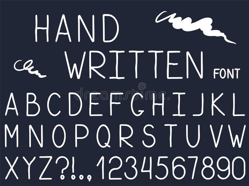 Set of vector line simple font and alphabet. royalty free illustration