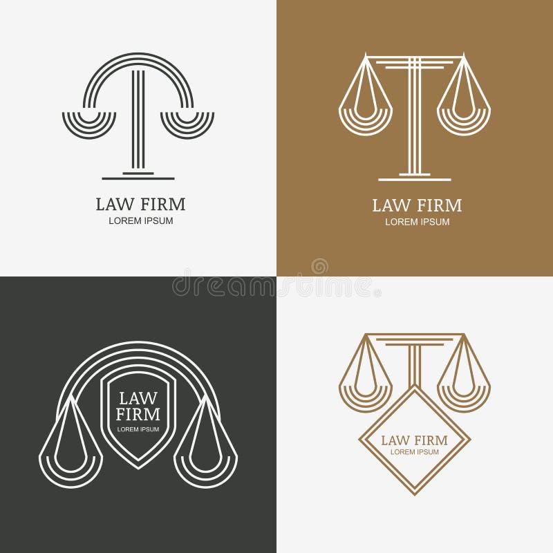 Set Of Vector Line Style Vintage Law Firm Logo Design