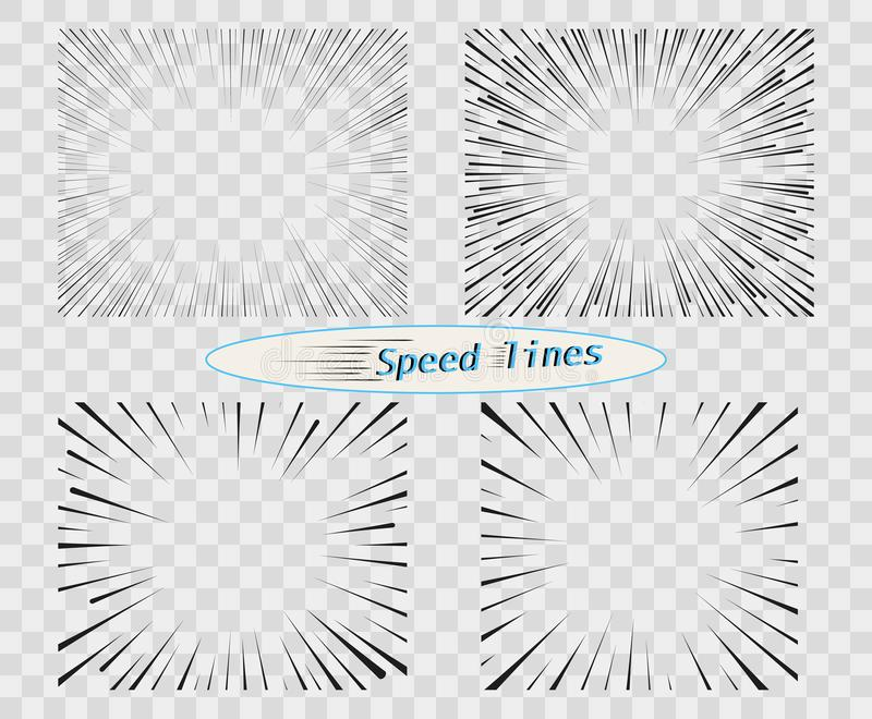 Set of vector lines of different variants of the simple horizontal. speed, motion. Manga cartoon design for comic books. Set of vector lines of different royalty free illustration