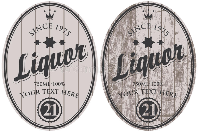 Set of vector liquor labels. On the background of wooden boards stock illustration