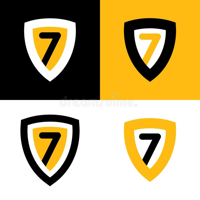 Set of Vector Logo in Black, yellow and white colors. Shield Badge with Seven. royalty free illustration