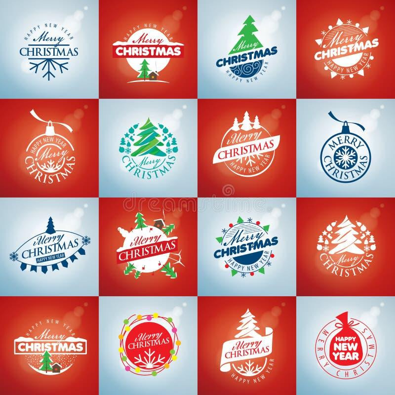 Set of vector logo Christmas vector illustration