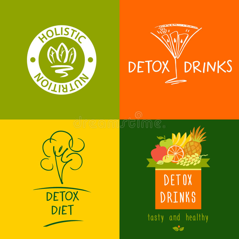 Set of vector logo detox drink, diet and holistic nutrition. On color background. Hand-drawn illustration for fresh health food and drinks in menu cafe royalty free illustration