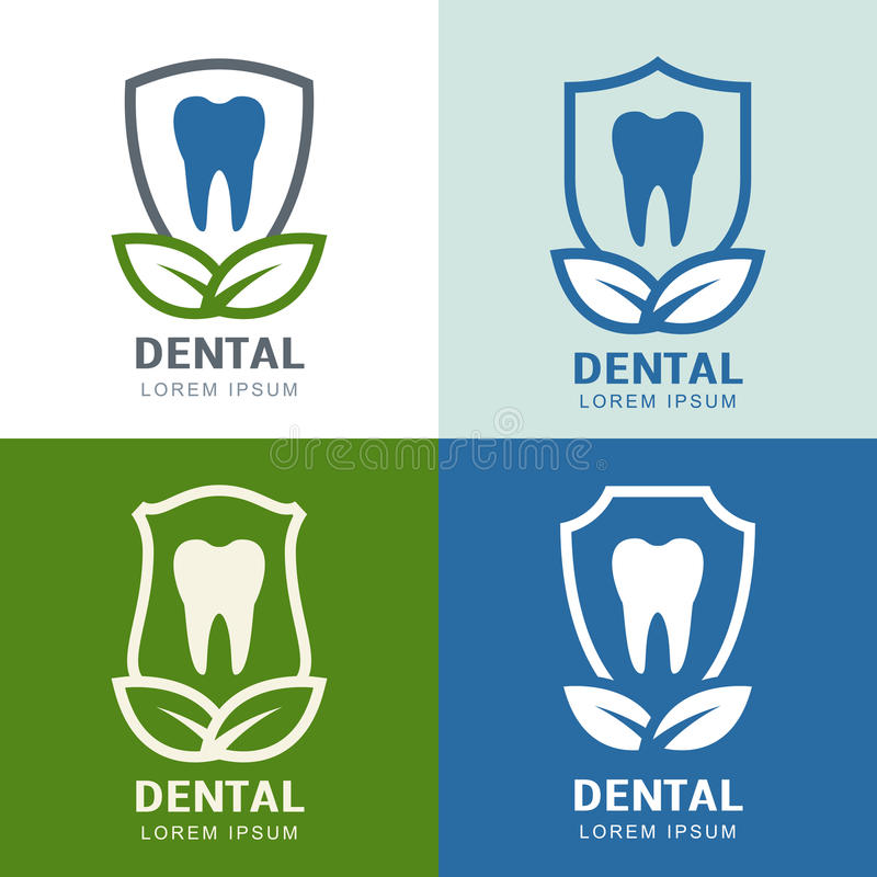 Set of vector logo icons design. Tooth, shield and green leaves stock illustration