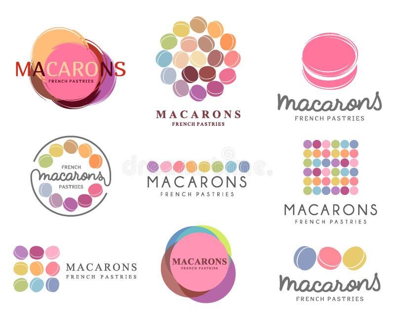 Set of vector logo macaron for shop, boutique, store stock illustration