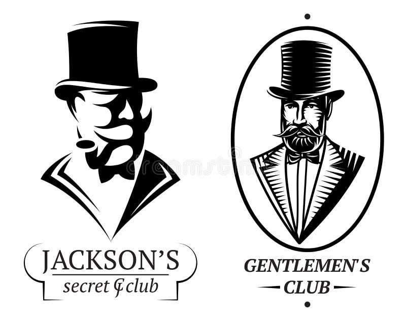 Set vector logo templates for gentlemen's club stock illustration