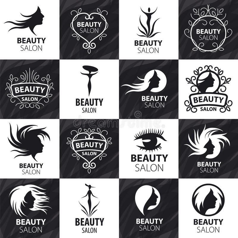 Set of vector logos for beauty salon vector illustration
