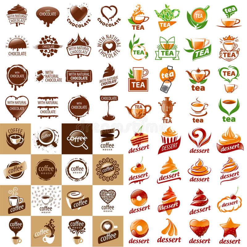 Set of vector logos hot drinks and desserts. Large set of vector logos hot drinks and desserts stock illustration