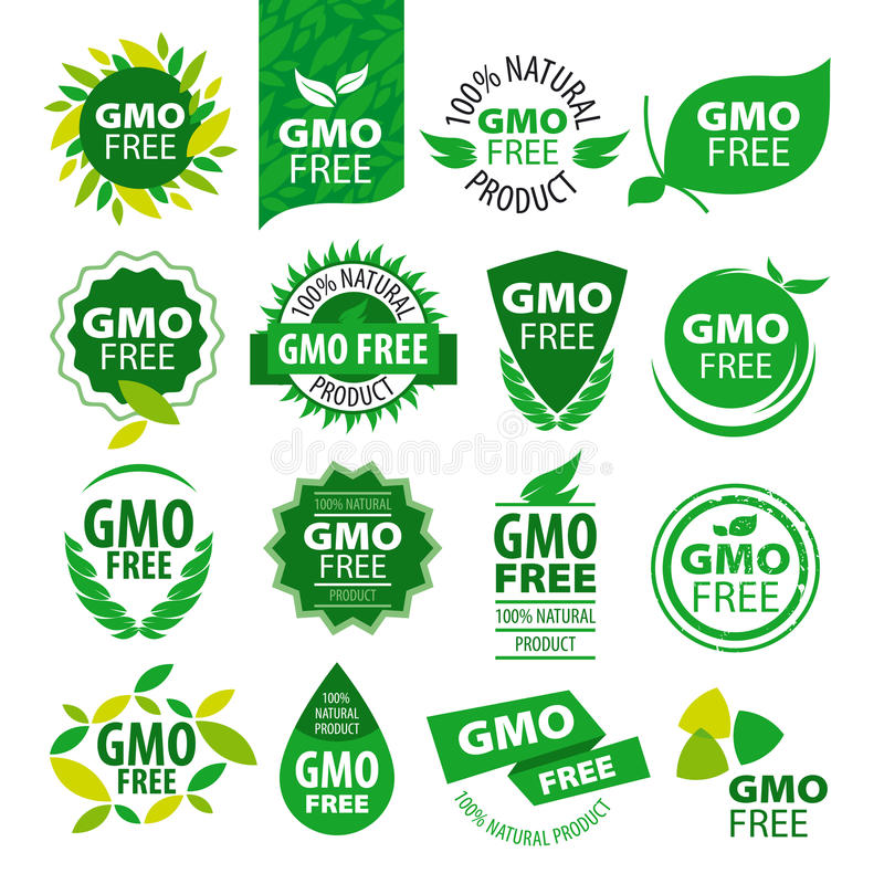 Set of vector logos natural products without GMOs stock illustration
