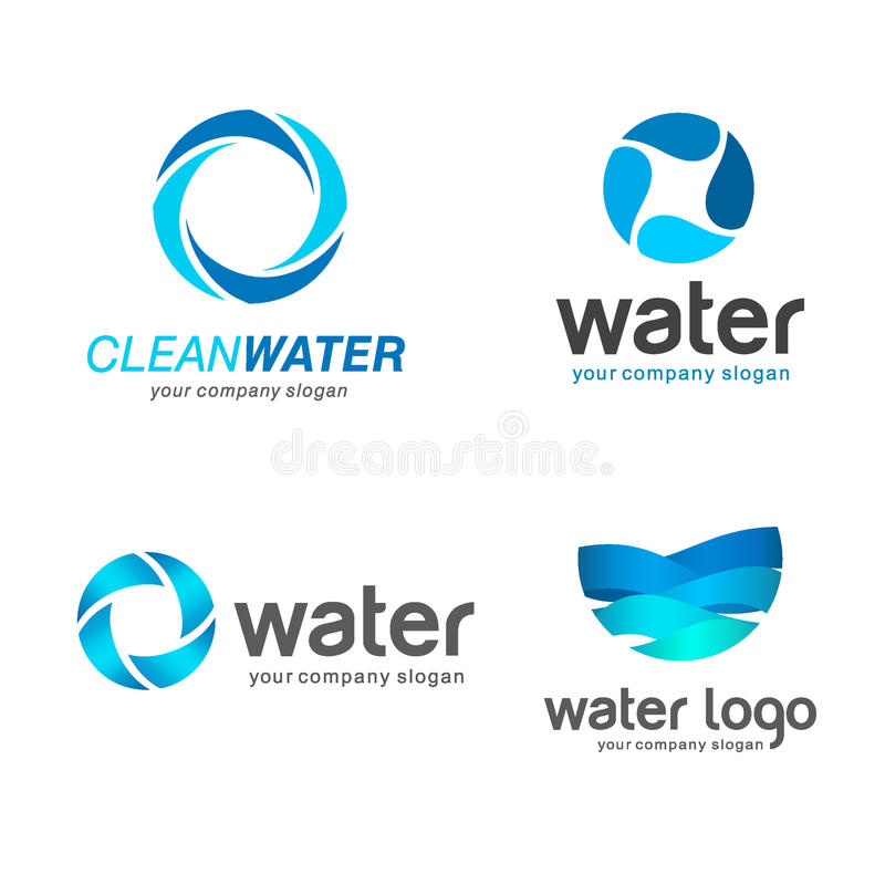 Set of vector logos. Sign for cleaning pipes and sewage systems, water filters. Clean water royalty free illustration