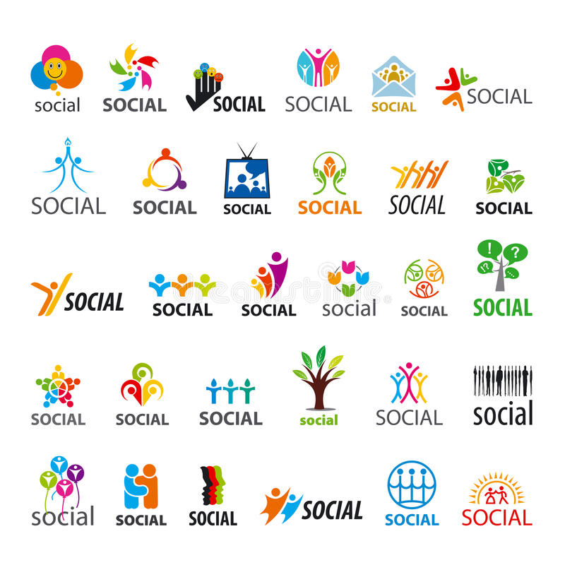 Set of vector logos social stock illustration
