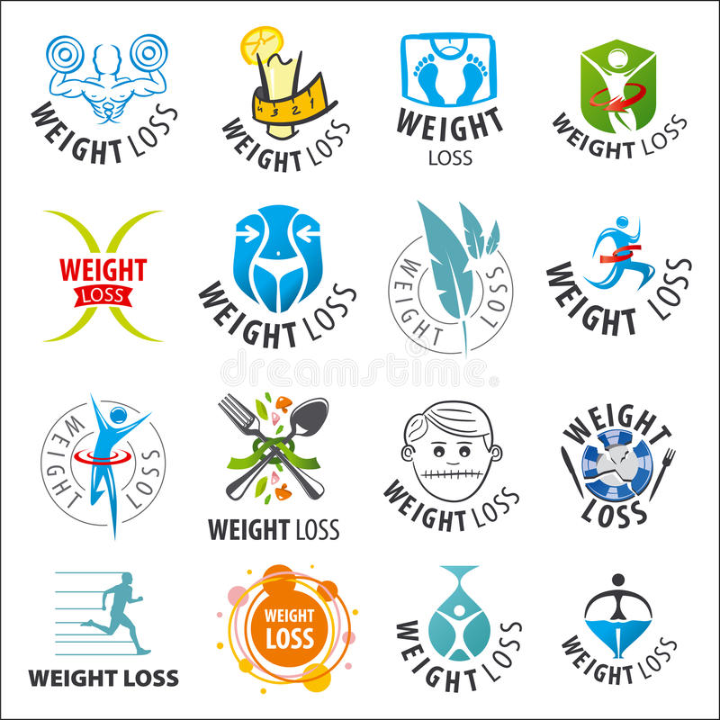 Set of vector logos weight loss royalty free illustration