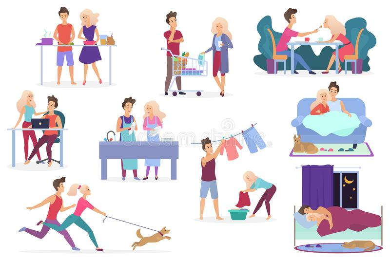 Set of vector loving couple activities. Cooking, shopping products, having dinner, working, relaxing, watching movie vector illustration