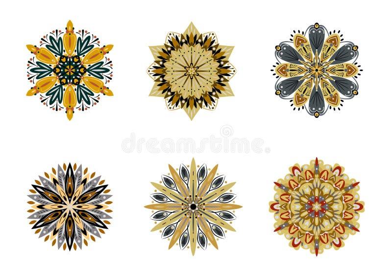 Set of vector mandalas. Colorful ethnic oriental circle folk ornament vector illustration