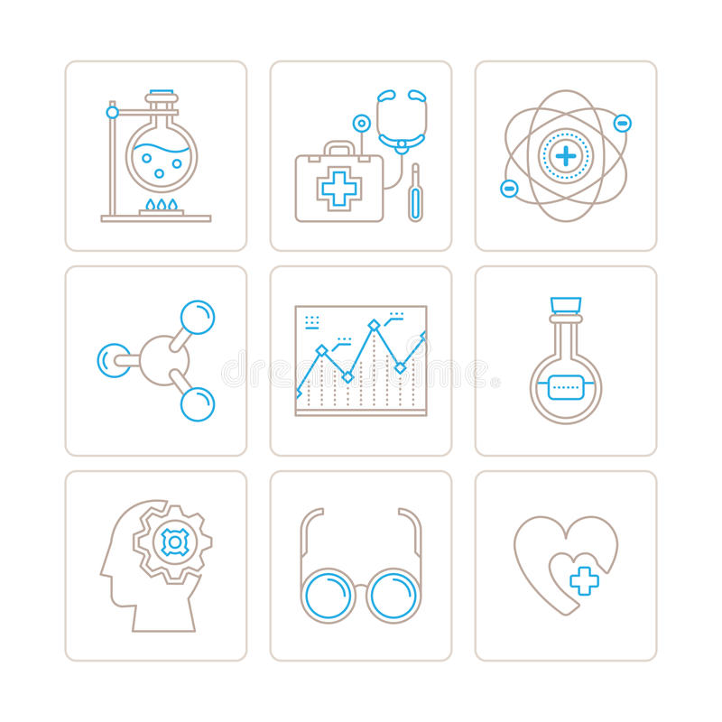 Set of vector medical icons and concepts in mono thin line style.  stock illustration