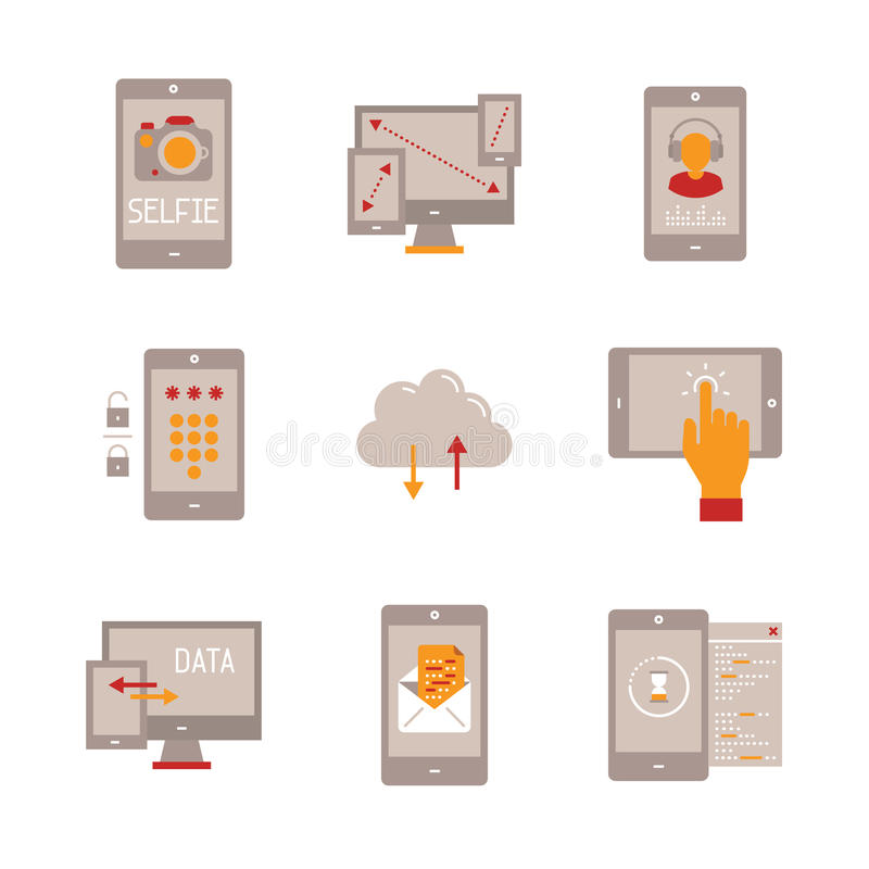 Set of vector mobile tech icons and concepts in flat style stock illustration