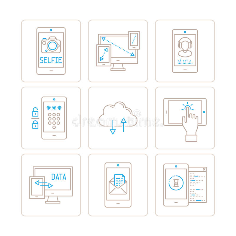 Set of vector mobile tech icons and concepts in mono thin line style.  vector illustration