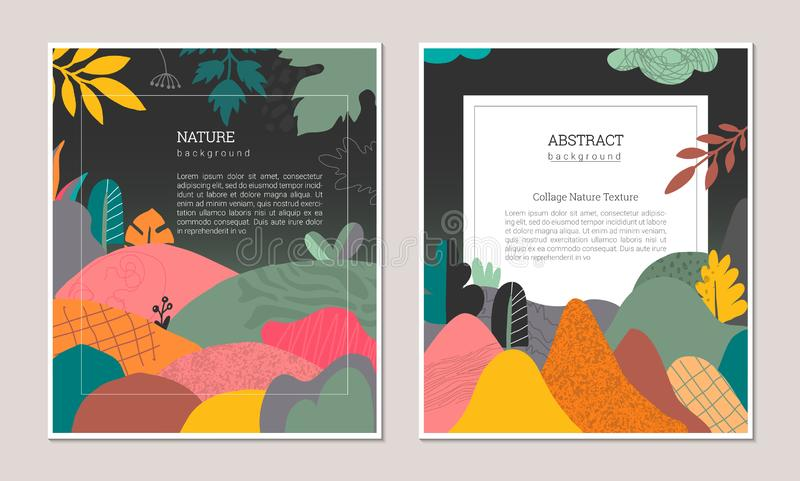 Set of vector modern artistic posters with hand drawn textures, plants, leaves and cut out paper shapes. royalty free illustration
