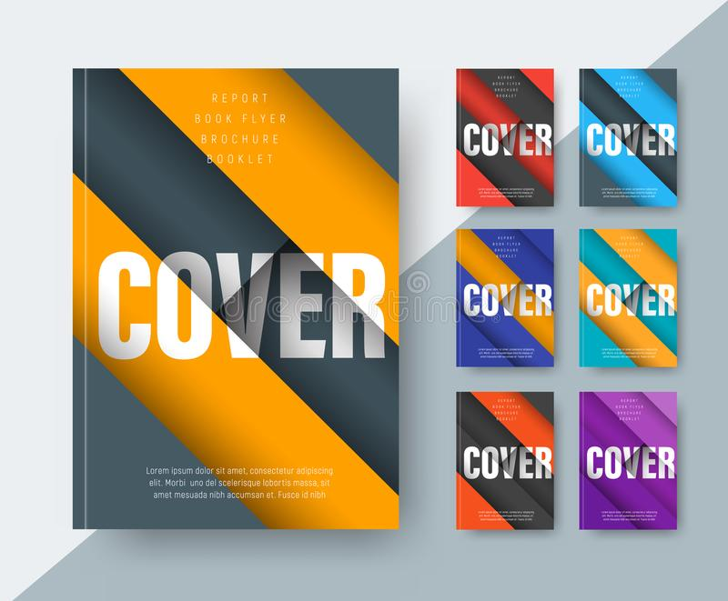 Set of vector modern covers in the style of material design with stock illustration
