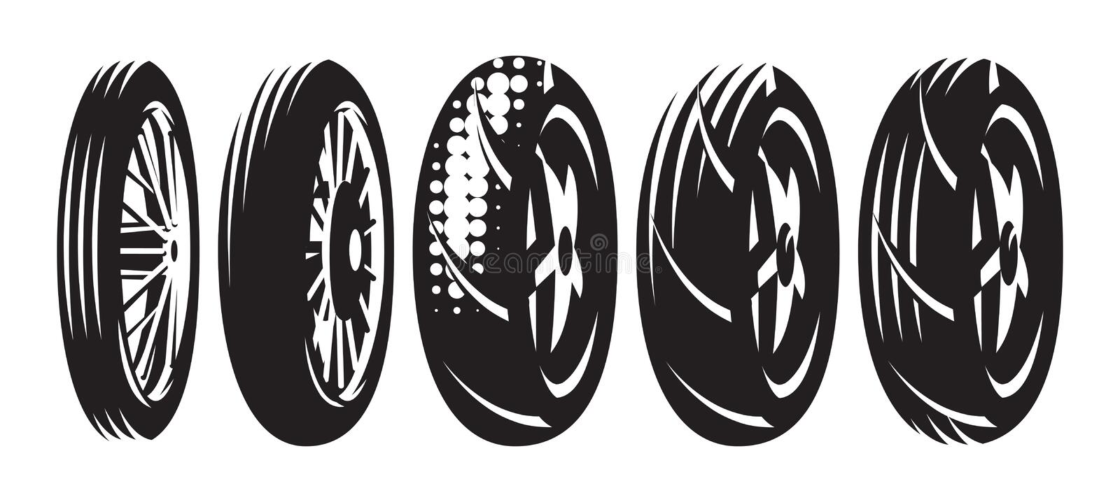 Set of vector monochrome templates of various motorcycle wheels.  stock illustration
