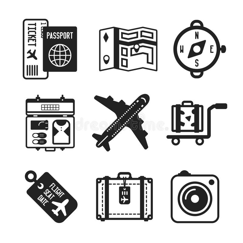 Set of vector monochrome travel icons in flat style royalty free illustration