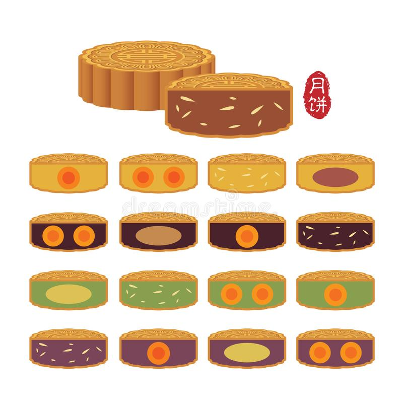 Mid autumn festival food - mooncake with different flavour. Set of vector mooncake with different ingredient filling and flavour isolated on white. Mooncake flat royalty free illustration