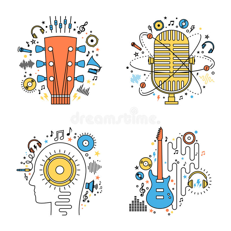 Set of vector music flat line illustrations royalty free illustration