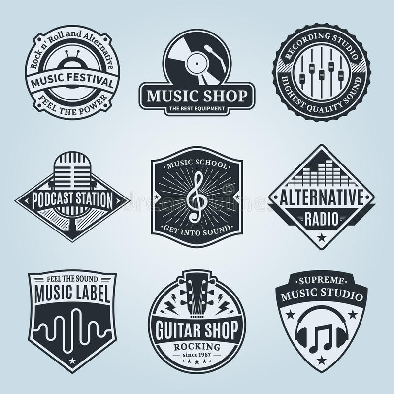 set of vector music logo icons and design elements stock vector