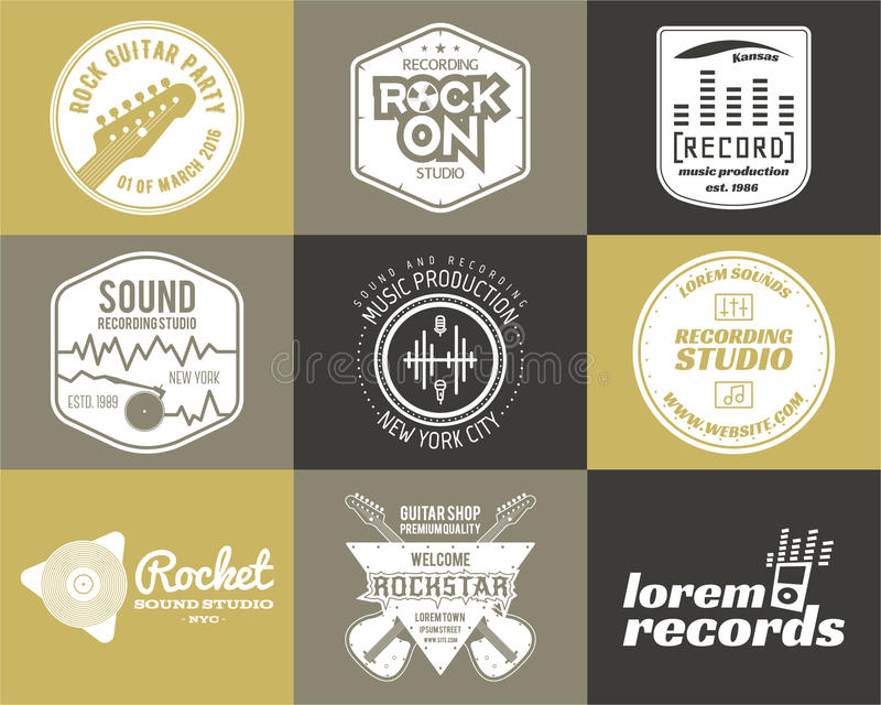 Set of vector music production logo Musical label royalty free illustration