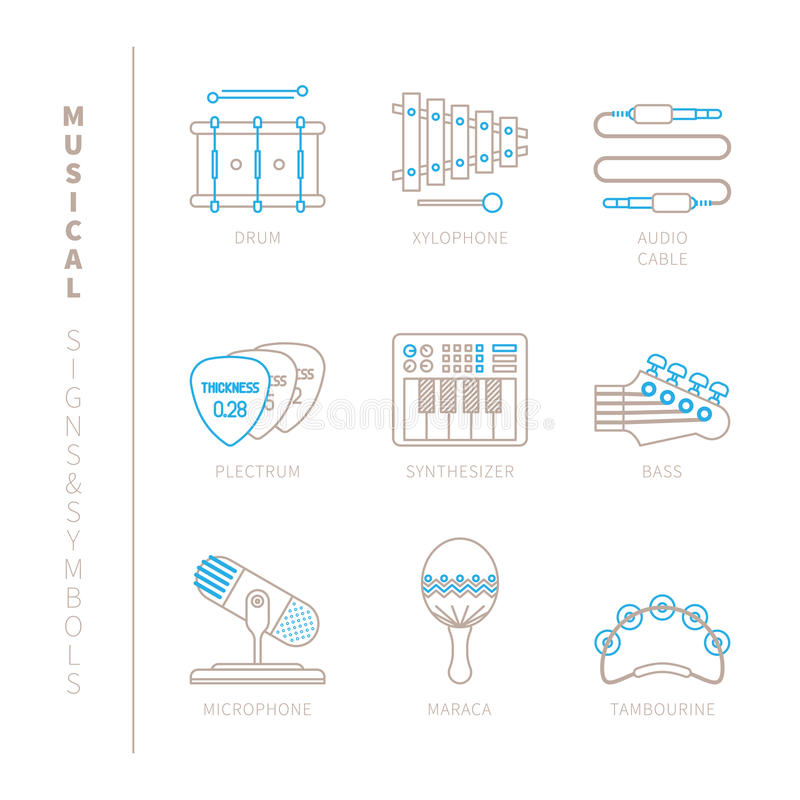 Set of vector musical instrument icons and concepts in mono thin line style.  vector illustration