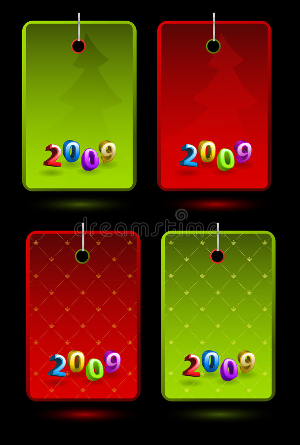 Set of vector New Year labels stock illustration