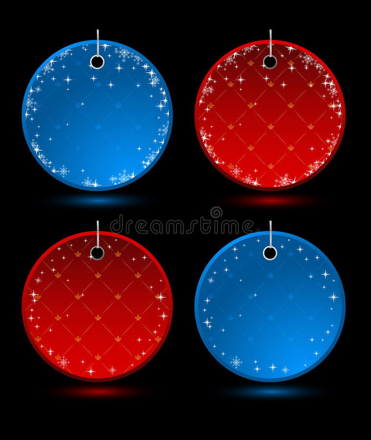 Set of vector New Year round labels vector illustration