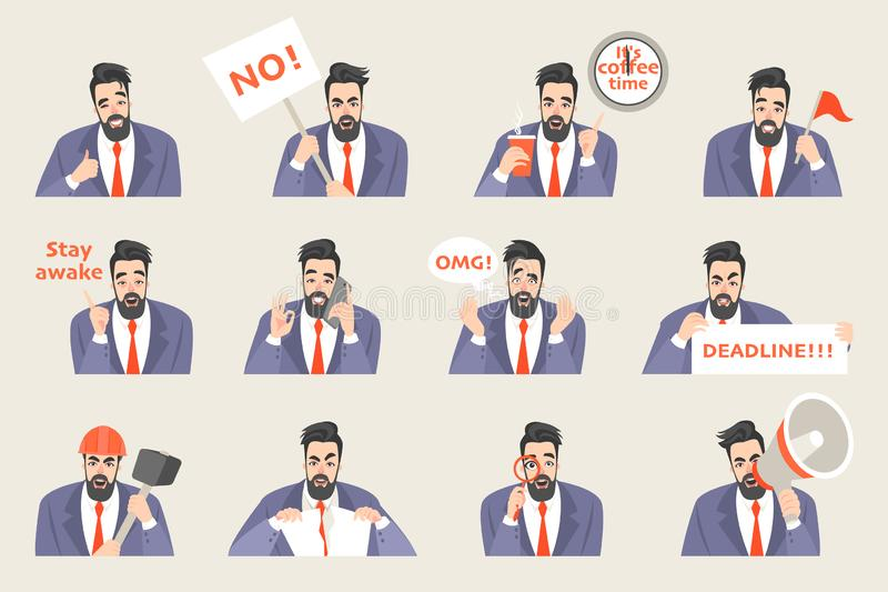 Set of vector office life stickers with a funny cartoon office worker in a different emotional state stock illustration