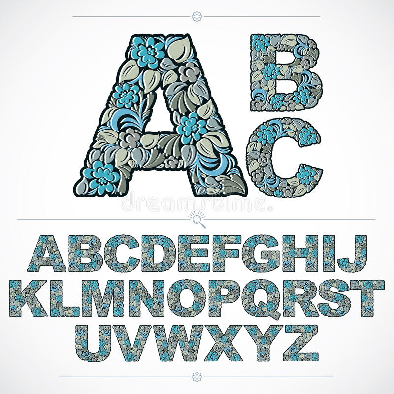 Set of vector ornate capitals, flower-patterned typescript. Blue royalty free illustration