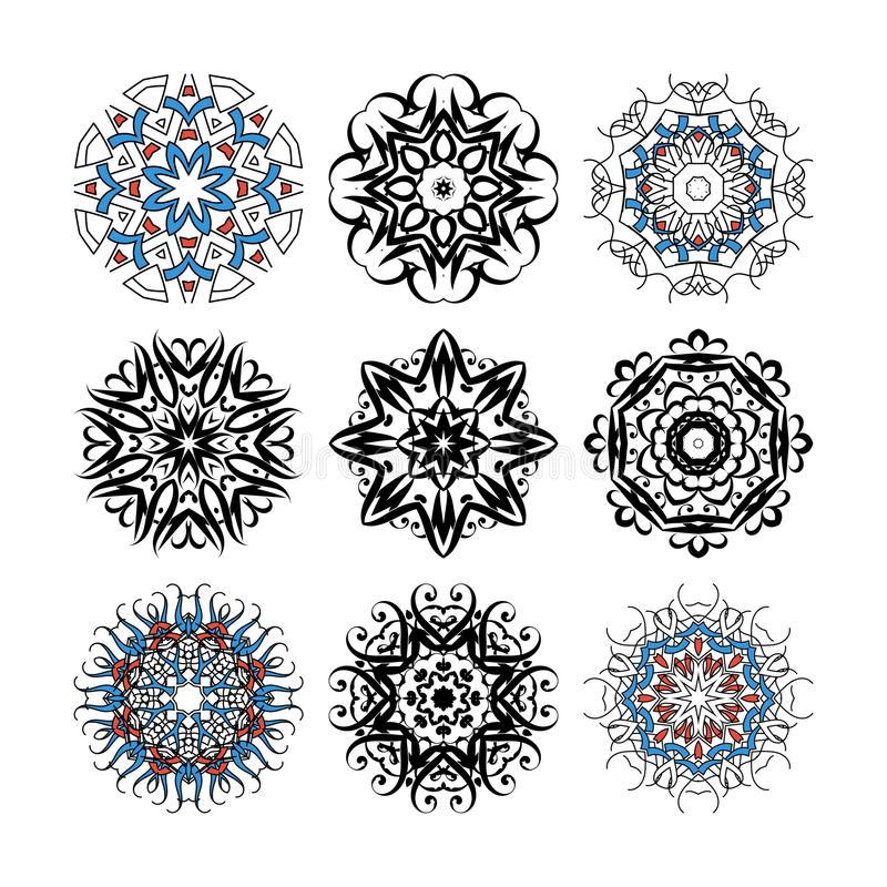 Set of vector ornate mandalas for coloring book. Collection of decorative round ornaments royalty free illustration