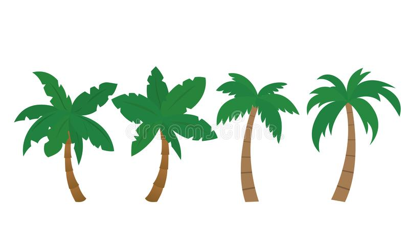 Set of vector palm illustrations, isolated - Flat design vector illustration