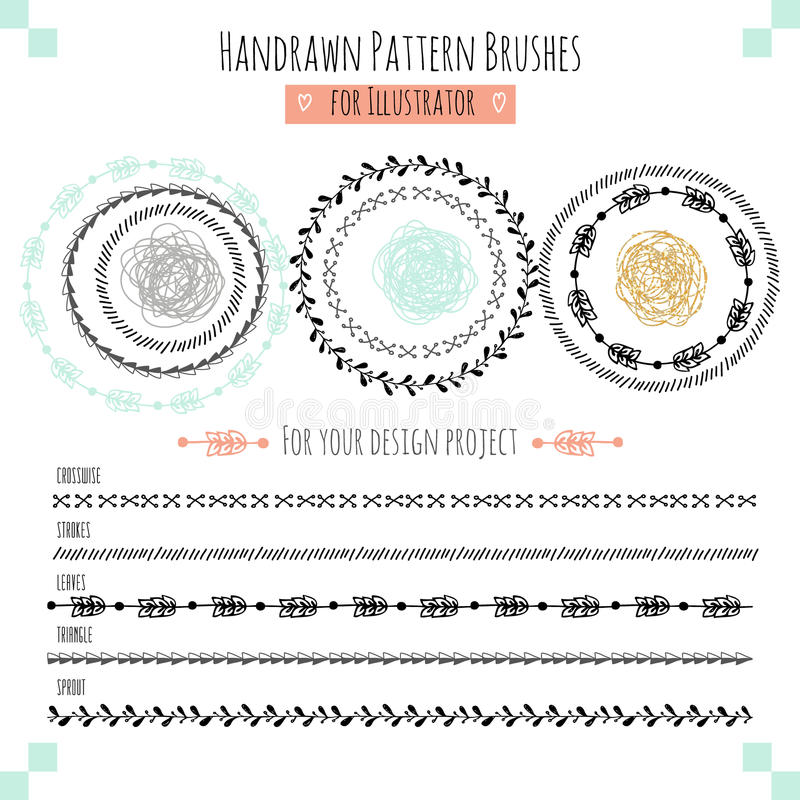 Set with vector pattern hand drawn brushes vector illustration