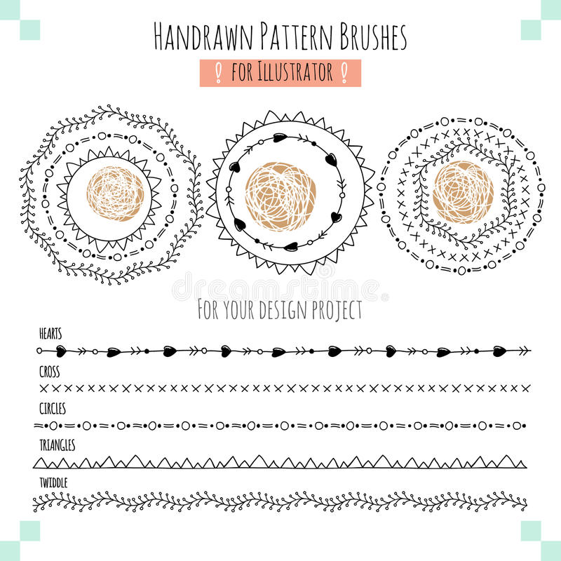 Set with vector pattern hand drawn brushes stock illustration