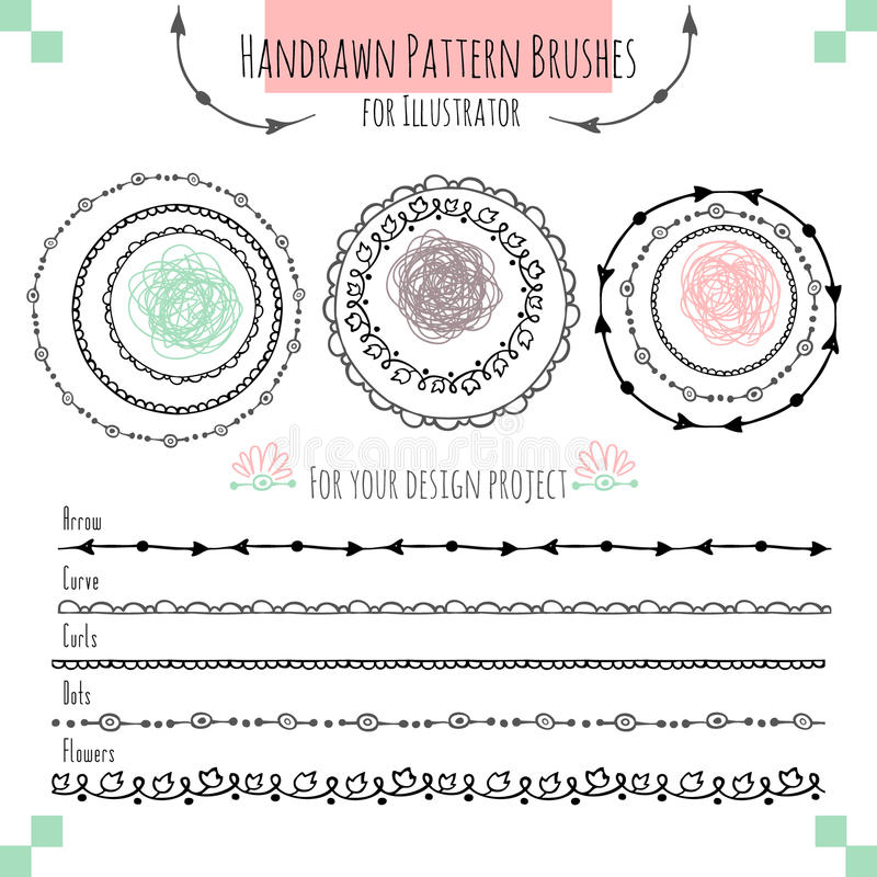 Set with vector pattern hand drawn brushes stock images