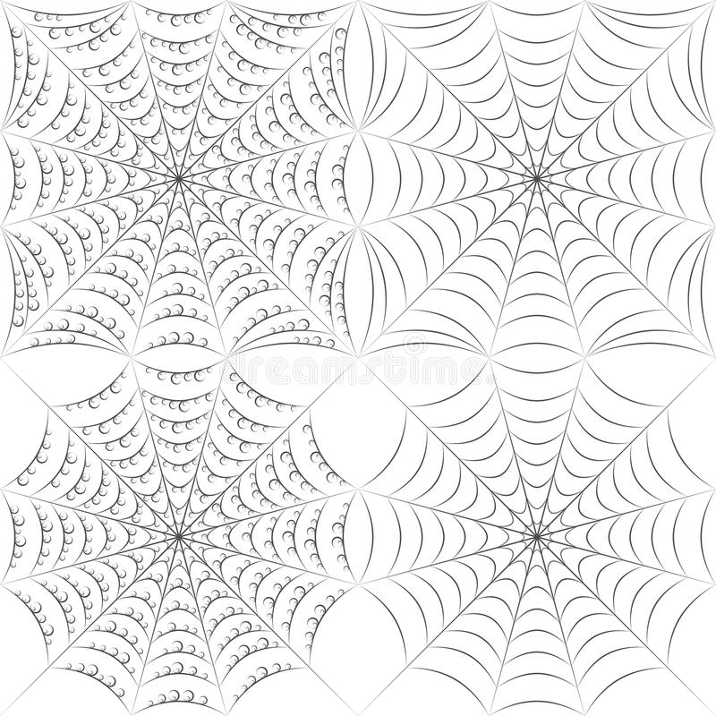 Set of vector patterns with spider web and drops. EPS10 stock illustration