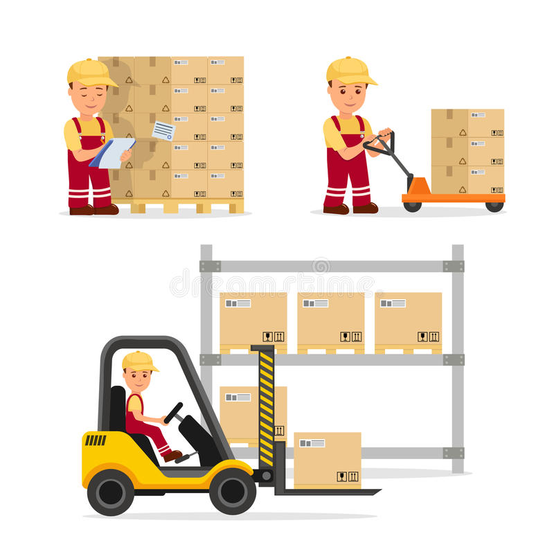 A set of vector people in the field of logistics, cargo storage and delivery. Warehouse worker in the uniform. Isolated characters for infographics and royalty free illustration