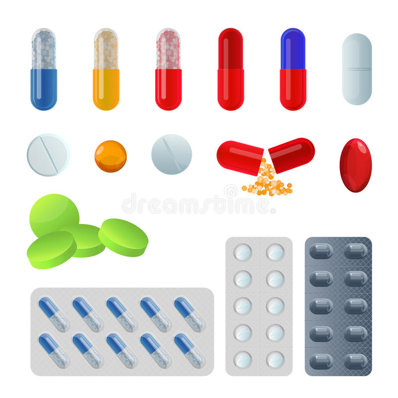 Set of vector pill capsules. Tablets in blisters painkillers antibiotics royalty free illustration