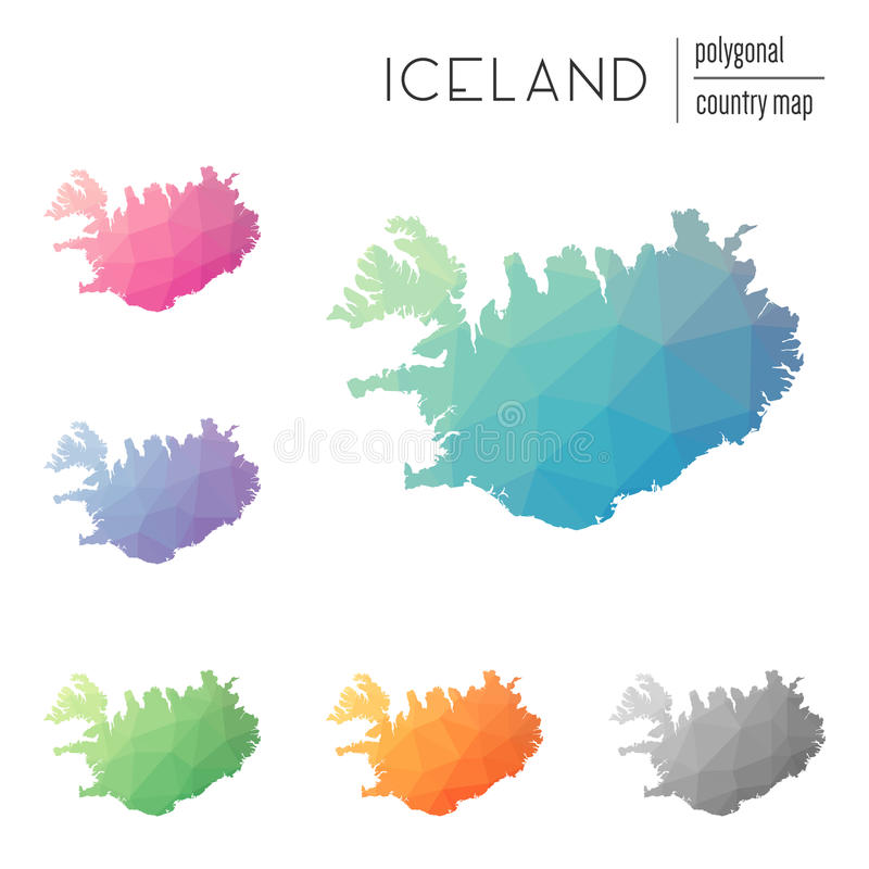 Set of vector polygonal Iceland maps. royalty free illustration