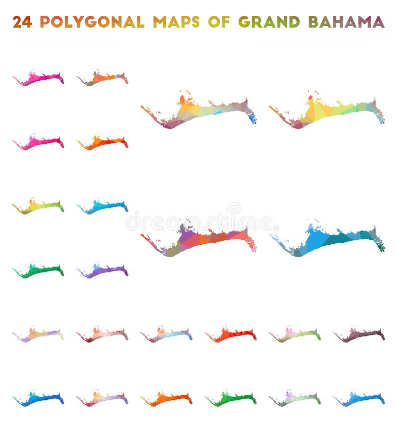 Set of vector polygonal maps of Grand Bahama. Bright gradient map of island in low poly style. Multicolored Grand Bahama map in geometric style for your stock illustration