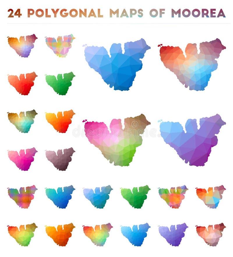 Set Of Vector Polygonal Maps Of Moorea Stock Vector