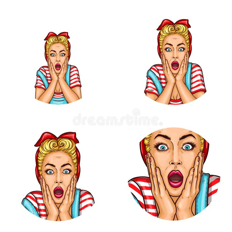 Set of vector pop art round avatar icons for users of social networking, blogs, profile icons. Surprised blond girl with a headscarf on her hair with open stock illustration