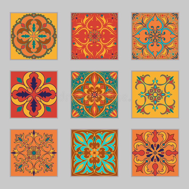 Set of vector Portuguese tiles. Beautiful colored patterns for design and fashion with decorative elements stock illustration