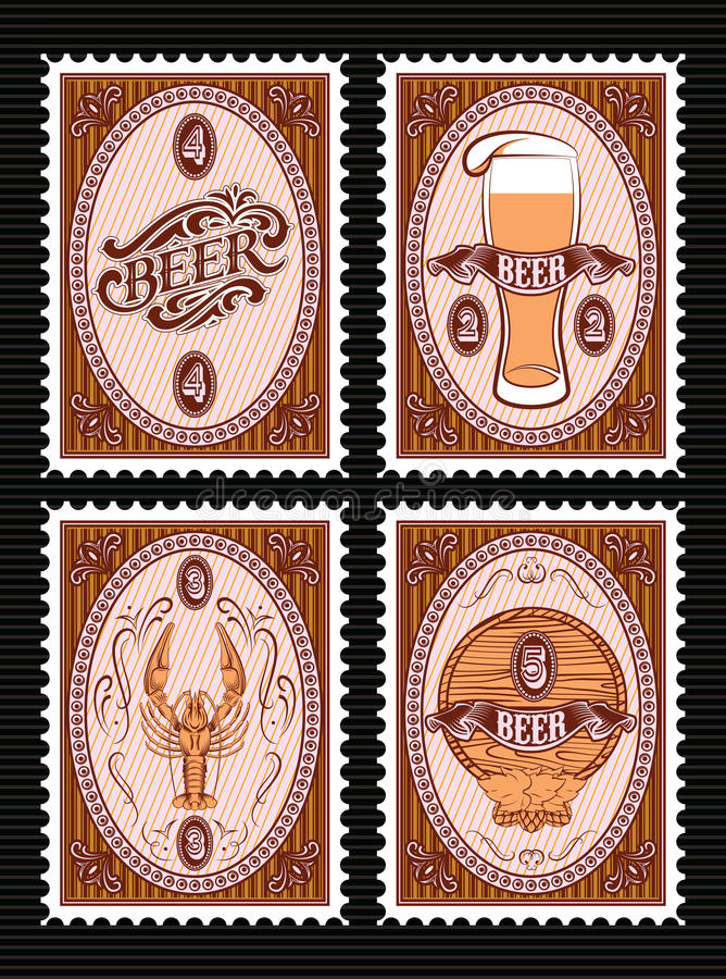 Set of vector postage stamps with glass of beer, keg, lobster royalty free illustration