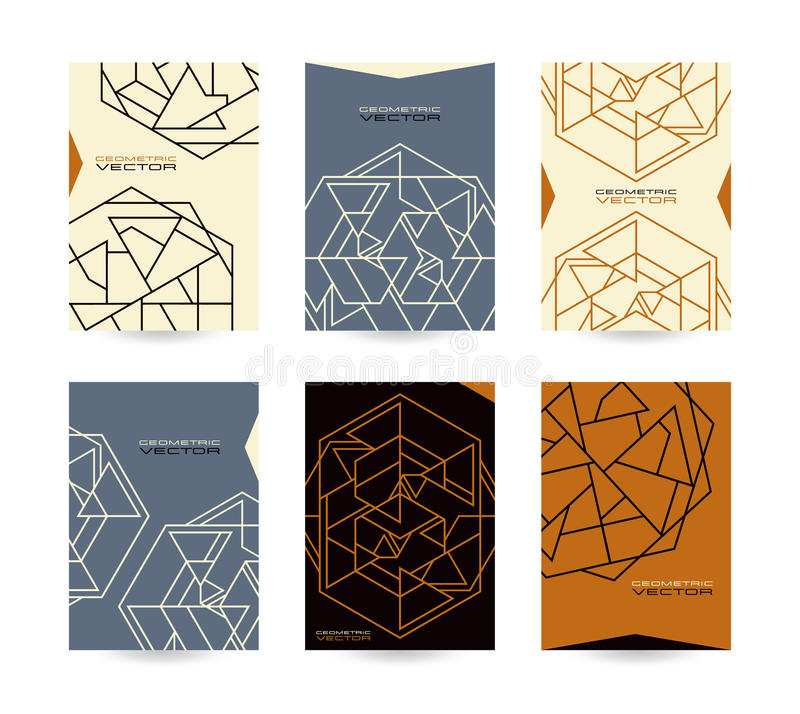 Set of vector poster templates with geometric drawing stock illustration